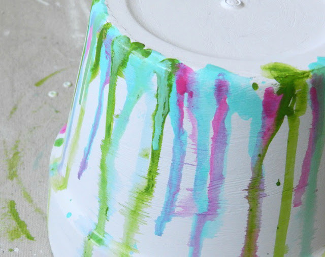 Dripped Watercolor Terracotta Pot DIY
