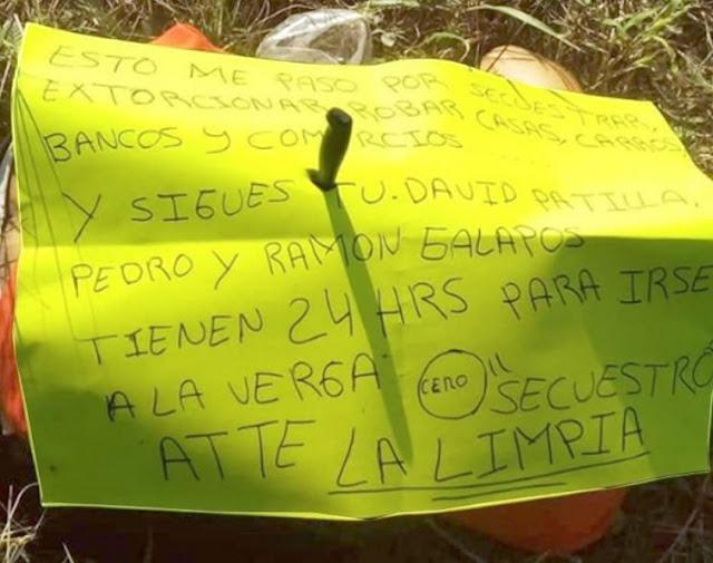 """""""Tienen 24 horas para irse a la v..rga"""", Sicarios de """"La Limpia"""" dejan advertencia y un ejecutado en Jalpa, Tabasco."""