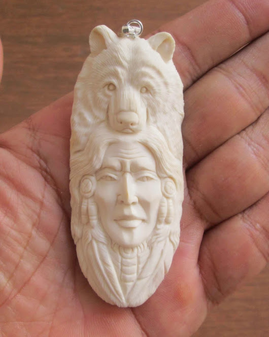 Hand Carved Indian Animal Bone Pendants