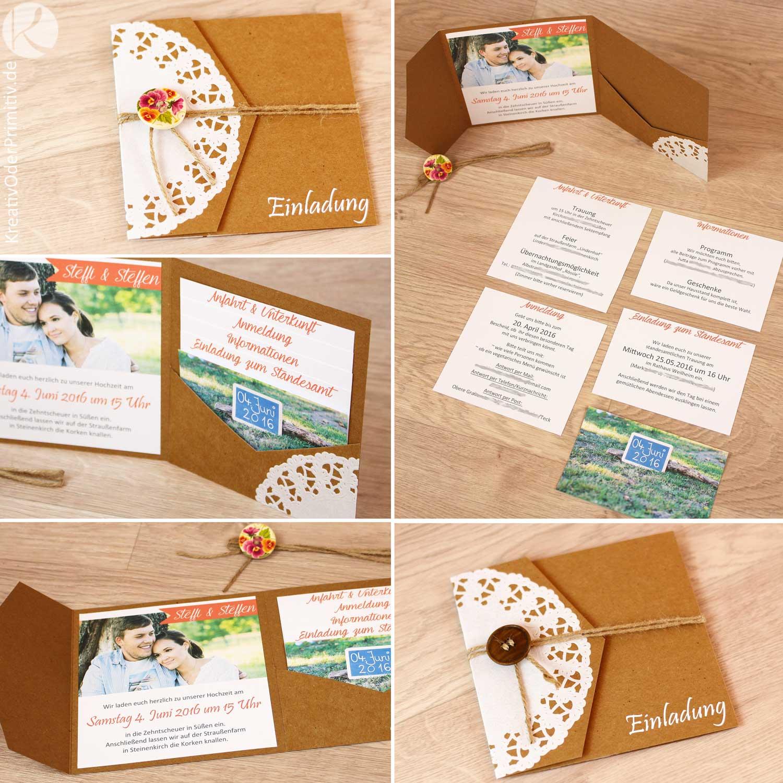 Kreativ Oder Primitiv Einladungskarten Zur Hochzeit