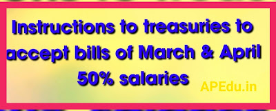 Instructions to treasuries to accept bills of March & April 50% salaries