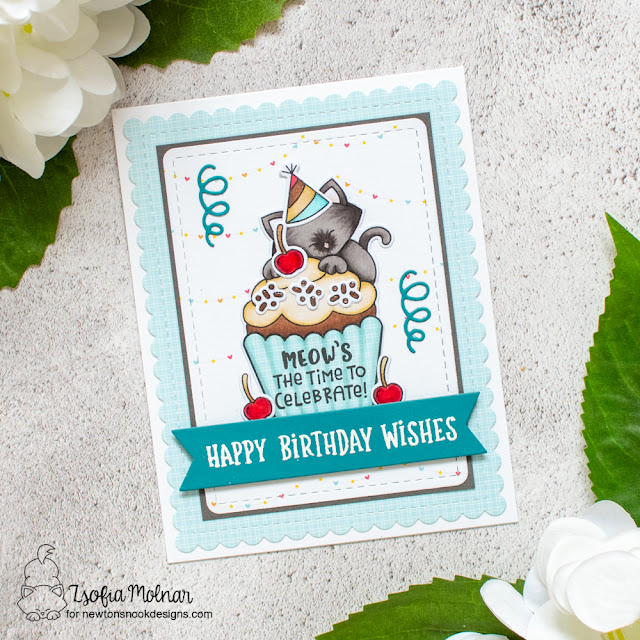 Birthday Cat and Cupcake Card by Zsofia Molnar | Newton's Cupcake Stamp Set, Heartfelt Blooms Stamp Set, Balloon Shaker Die Set and Frames & Flags Die Set by Newton's Nook Designs #newtonsnook #handmade