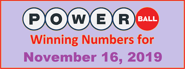 PowerBall Winning Numbers for Saturday, November 16, 2019
