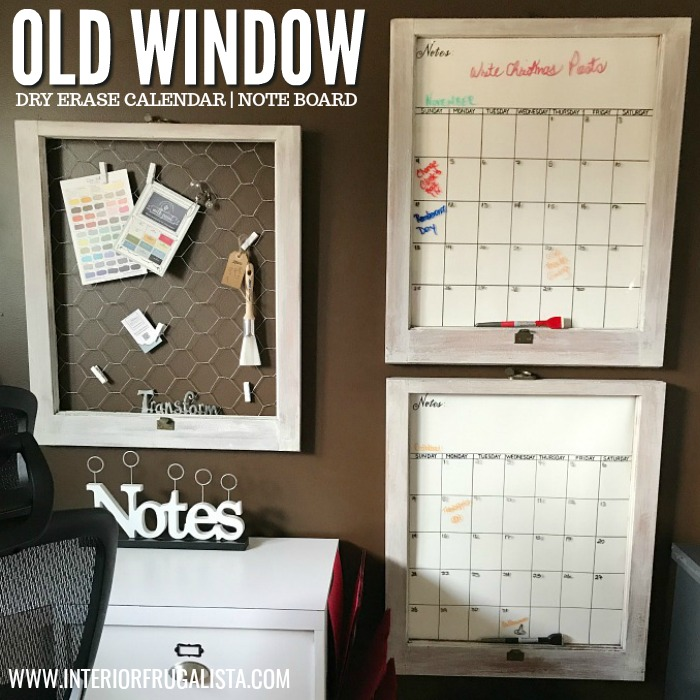 Old Window Wall Calendar Plus Note Board