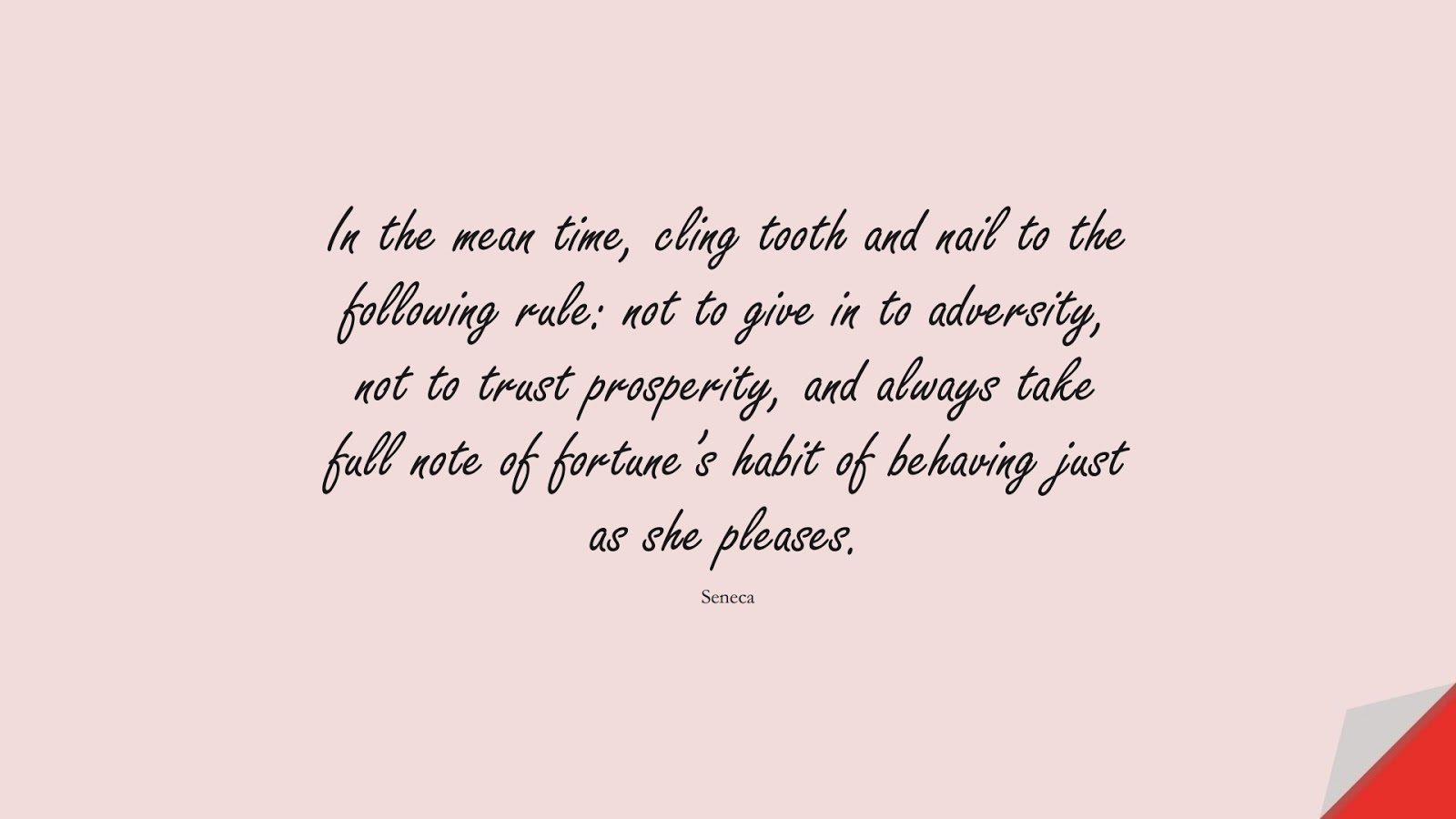 In the mean time, cling tooth and nail to the following rule: not to give in to adversity, not to trust prosperity, and always take full note of fortune's habit of behaving just as she pleases. (Seneca);  #StoicQuotes
