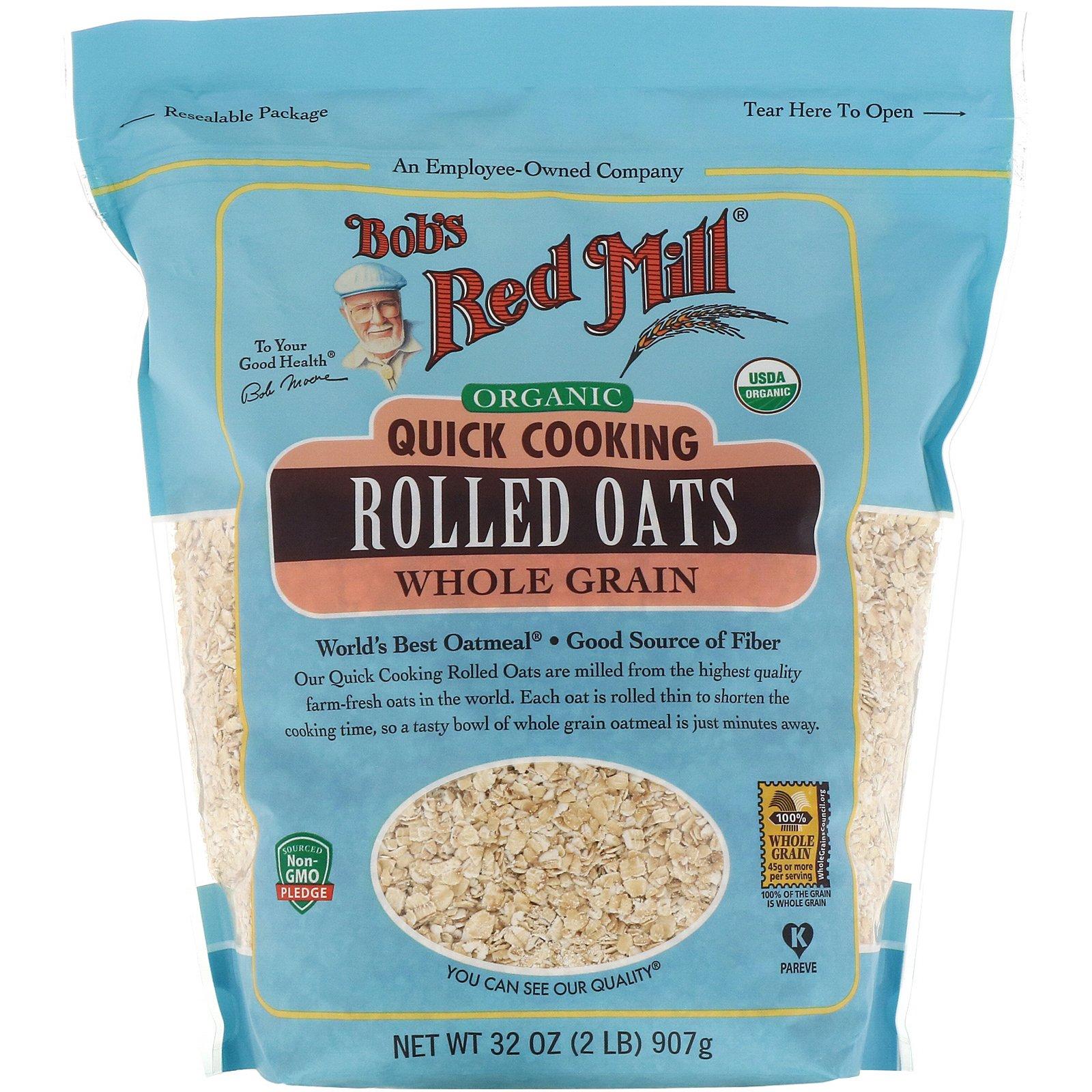 Bob's Red Mill, Органические овсяные хлопья быстрого приготовления, цельнозерновые, 907 г