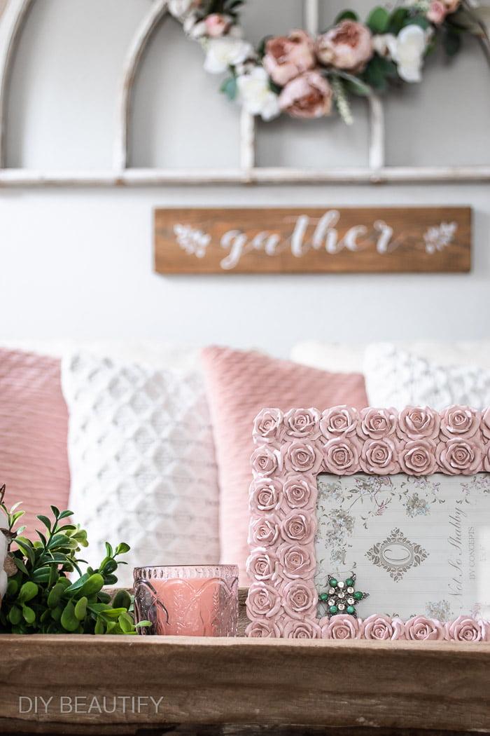 pink rosette frame