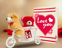 Combo of 2 Teddy, Love Tri-Cycle, Key Chain, Greeting Card for Valentine's Day Gift (Purple)