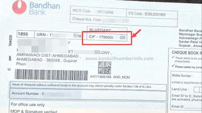 Bandhan Bank CIF number in Passbook