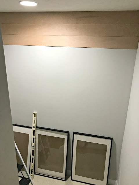 Fun wall treatment for wall on stair landing