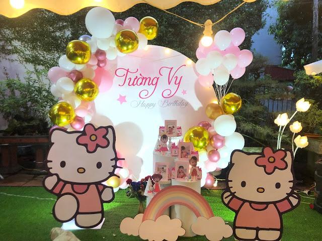 trang trí sinh nhật bé gái tại nhà cầu giấy