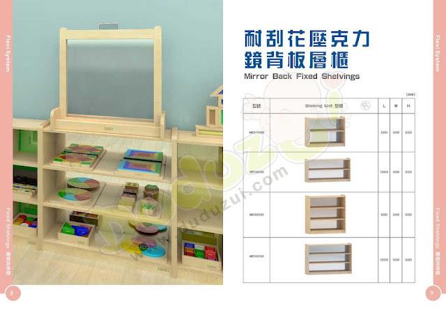 masterkidz furniture 耐刮花壓克力鏡背板層櫃