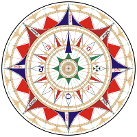Ornate compass rose from the chart of Jorge de Aguilar, 1492