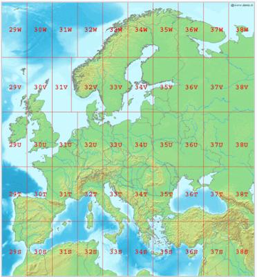 Representación de husos utm en la zona de Europa