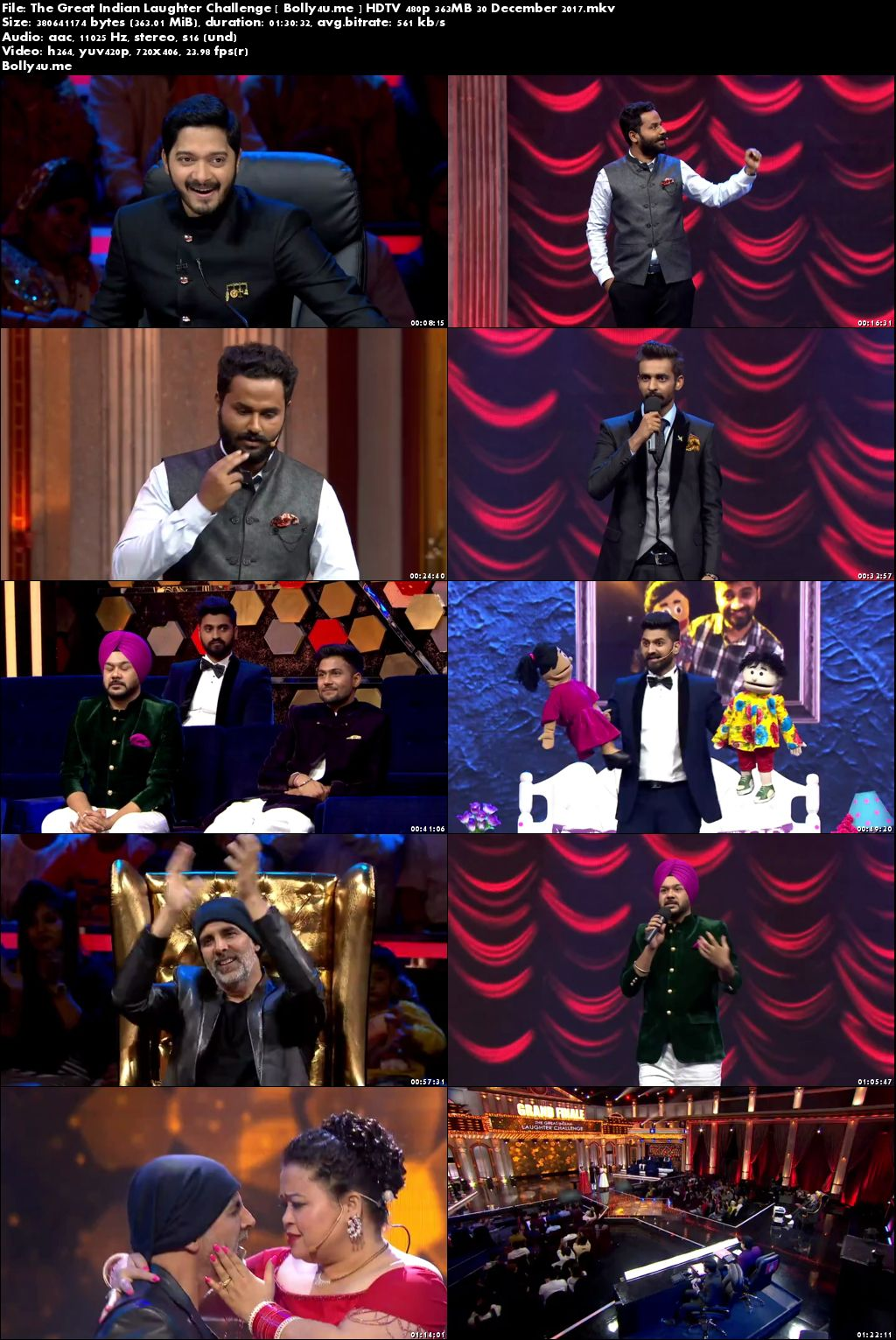 The Great Indian Laughter Challenge HDTV 480p 350MB 30 Dec 2017 Download