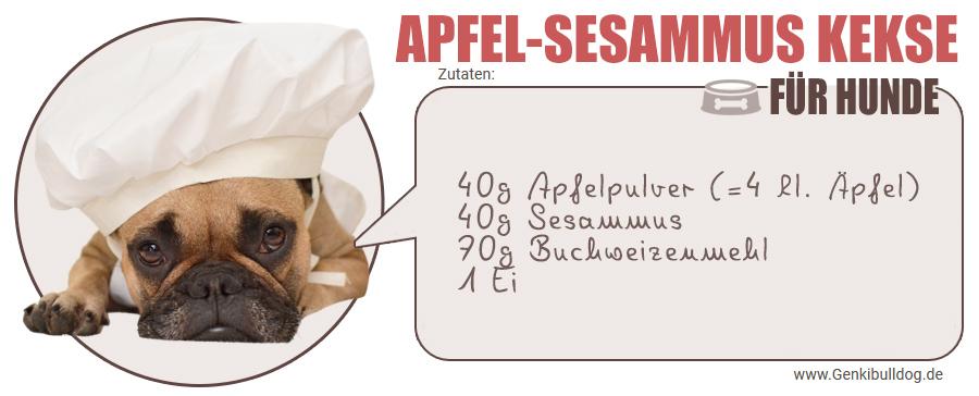 Zutaten für selbstgemachte Hundekekse mit Apfel und Sesammus