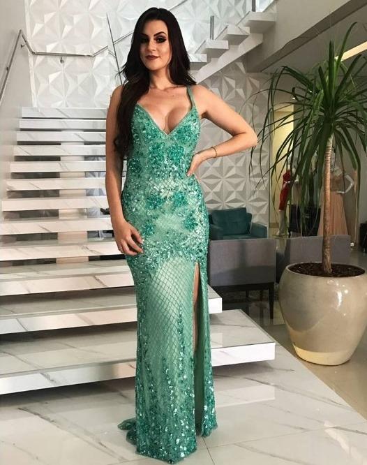 vestido de festa verde claro bordado