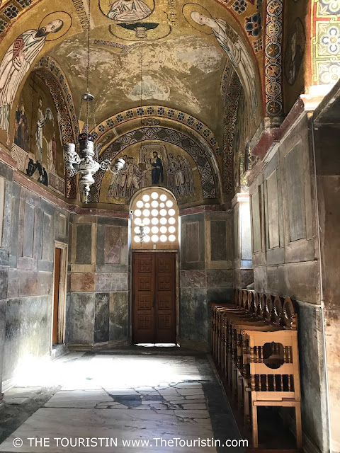 Interior decoration, gold mosaic, and wall paintings at Osiou Louka Unesco in Greece