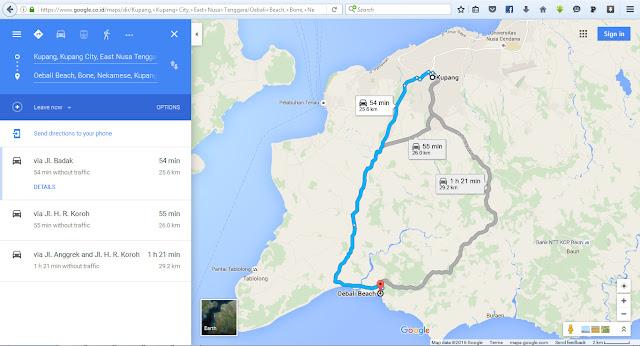 Peta jalan google dari kota Kupang ke pantai Batu Burung