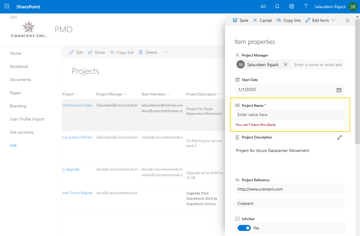 make a field required in sharepoint online