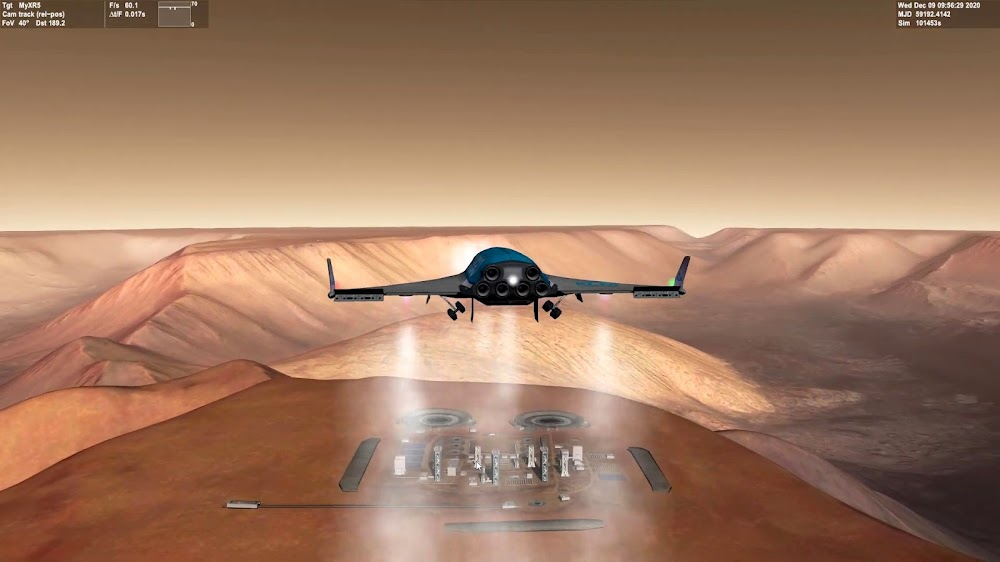 Shuttle landing at Orcus Patera base on Mars from Orbiter space flight simulator