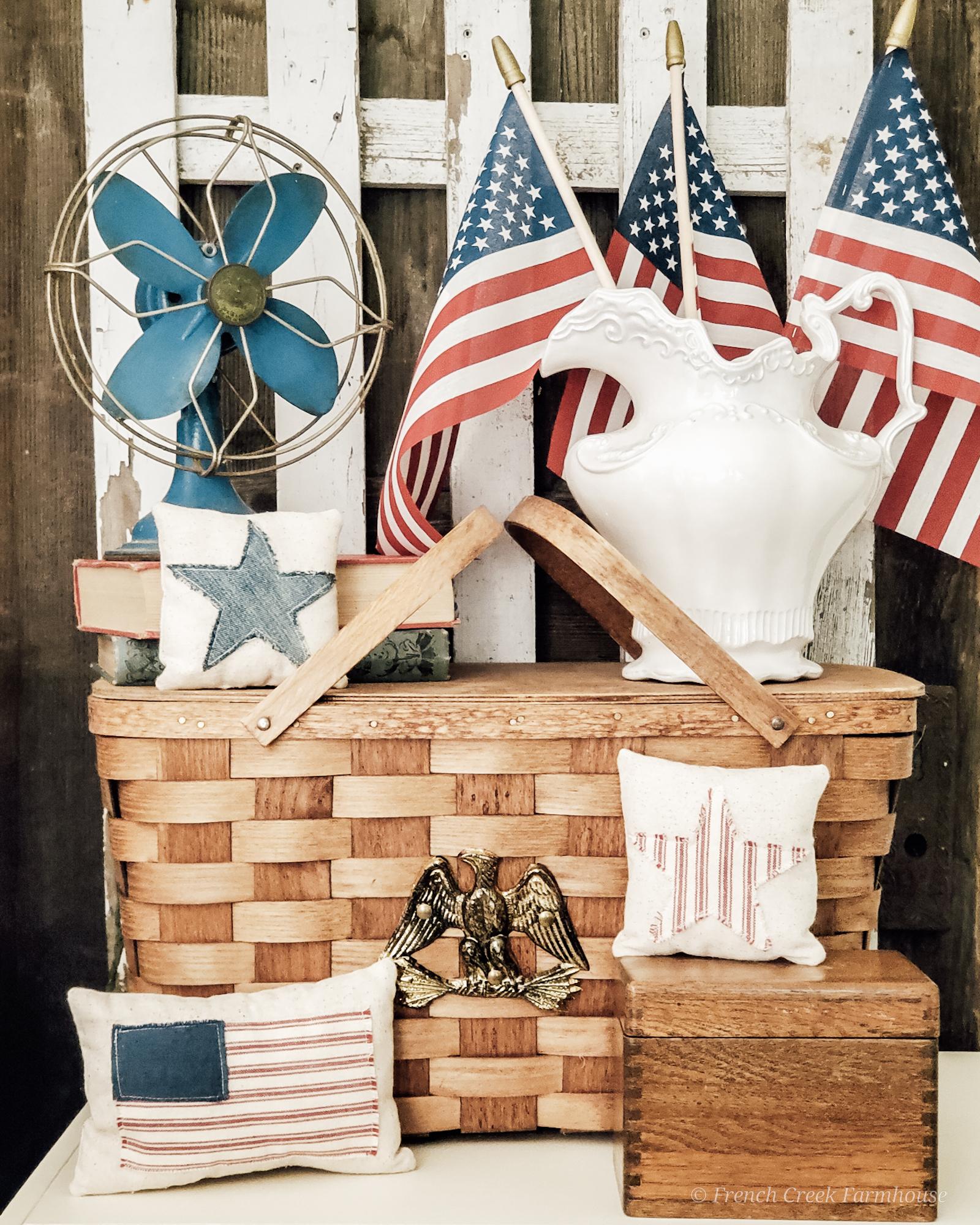 Farmhouse patriotic and vintage vignette