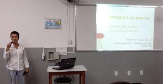 """Cátia Araújo, coordenadora geral da pós-graduação do UNIFESO, proferiu palestra para estudantes de Engenharia Civil sobre """"Perícia Judicial: Instrumental para a Engenharia Forense"""""""