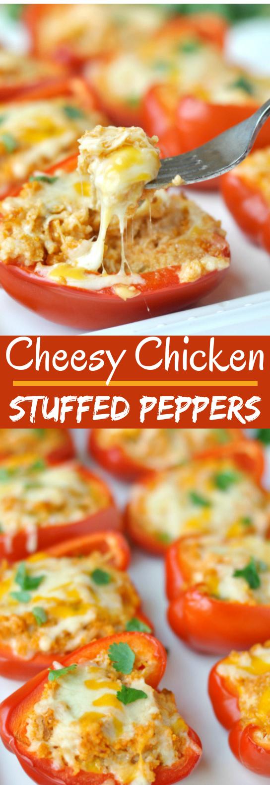 Cheesy Chicken Stuffed Peppers #keto #dinner
