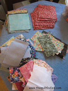 scrappy cut pieces for hankie quilt