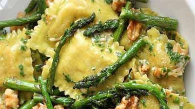 Ravioli With Sauteed Asparagus and Walnuts - www.uniquegiftstips.com