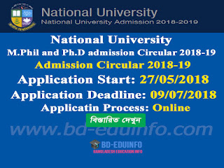National University M.Phil and Ph.D admission Circular 2018-19