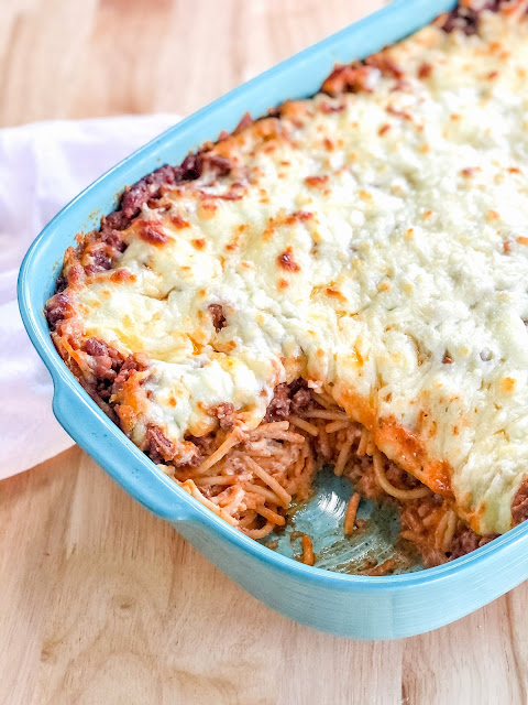 spaghetti casserole smothered in cheese