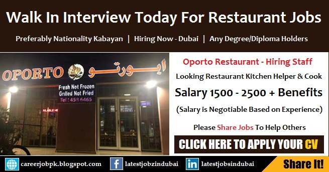 Walk in Interview in Dubai Today For Restaurant Jobs