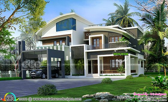 Luxurious curvy roof 6 bedroom home