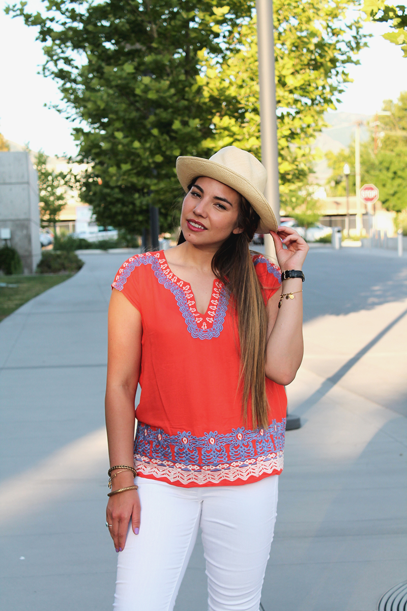 THML clothing, wholesale clothing retailer, orange blouse