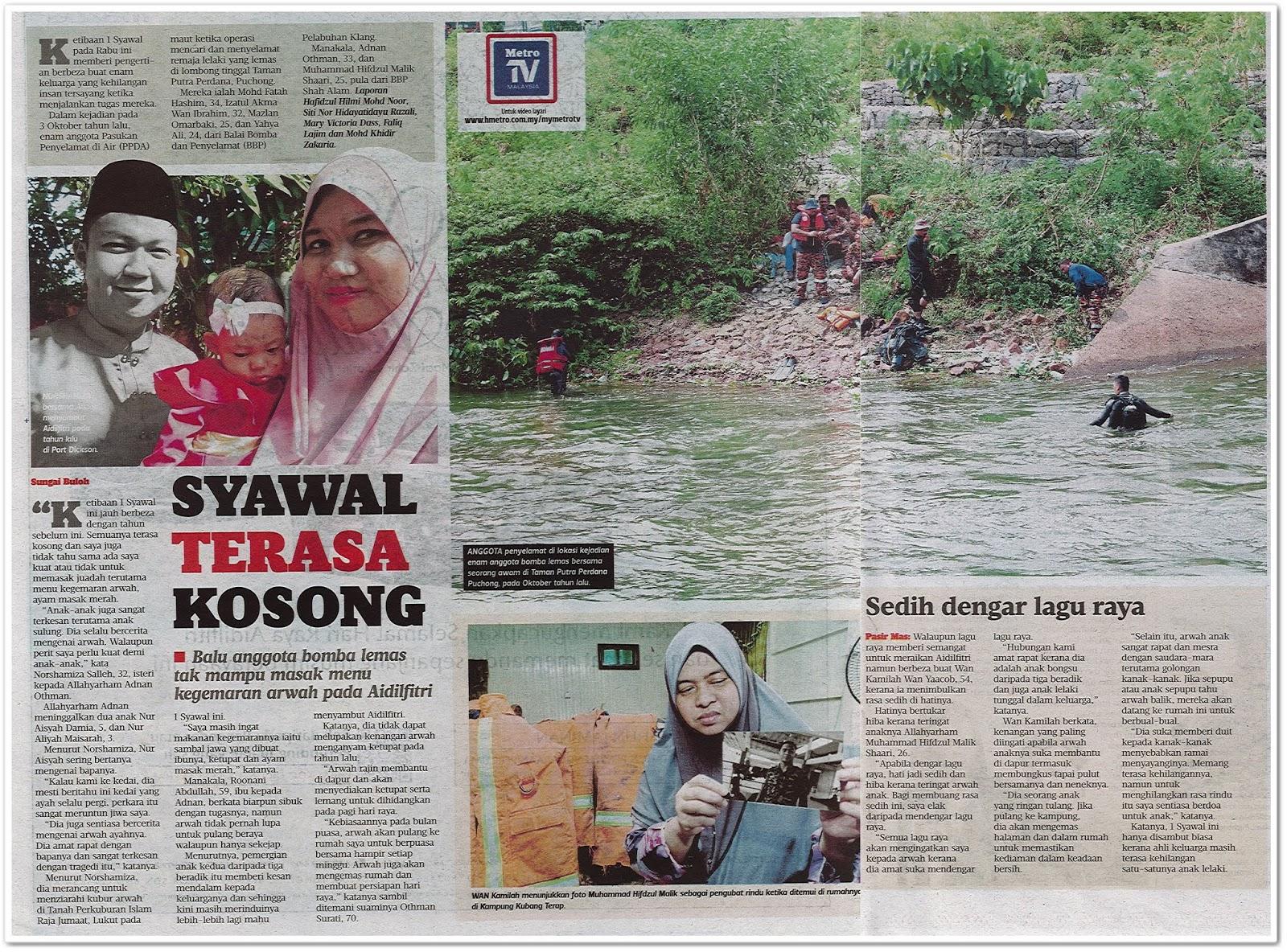 Syawal terasa kosong - Keratan akhbar Harian Metro 3 Jun 2019