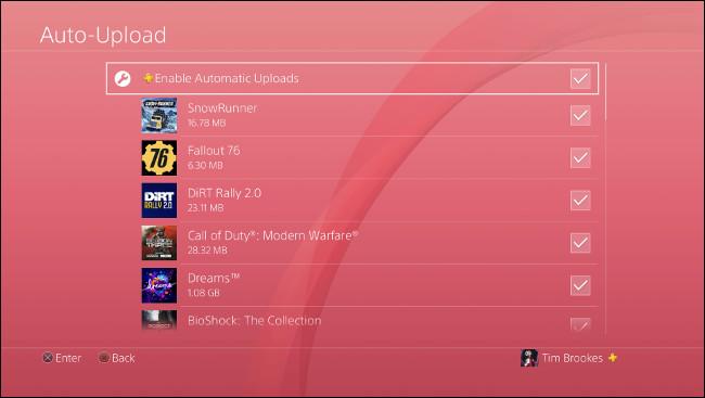 """قائمة """"التحميل التلقائي"""" على PS4."""
