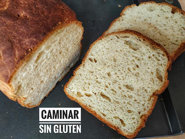 Corte y miga del pan de molde sin gluten y sin lactosa