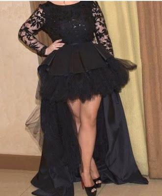 Unique A-line Scoop Neck Tulle Silk-like Satin Asymmetrical Appliques Lace Black Long Sleeve High Low Plus Size Prom Dresses -Price:USD $145.99