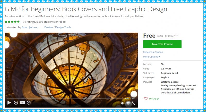 100 Free Udemy Course Gimp For Beginners Book Covers And Free Graphic Design Free Udemy