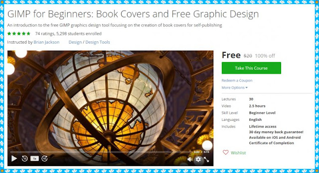 100 free udemy course gimp for beginners book covers