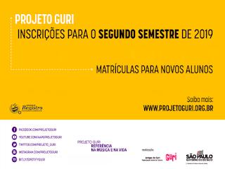 Projeto Guri abre inscrições para aulas gratuitas de Canto, Iniciação Musical, Percussão e Violão