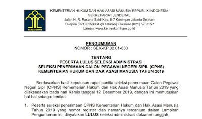 Pengumuman Hasil Seleksi Administrasi CPNS KEMENKUMHAM