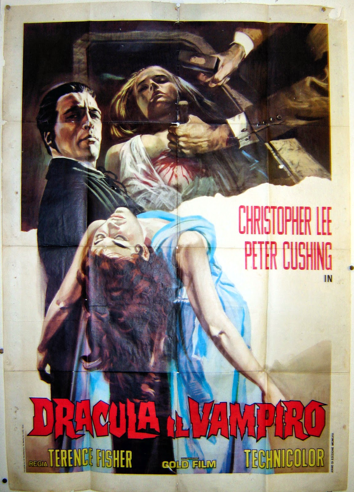 Italian film poster for Horror of Dracula, Christopher Lee carrying a beautiful woman, Peter Cushing driving a stake through a sleeping woman's chest.