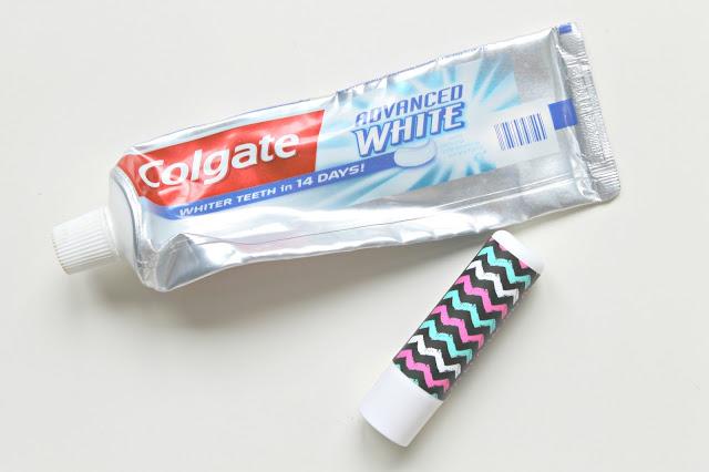 Colgate advanced white tandpasta Primark lip balm vanilla
