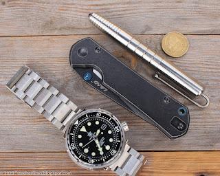 "TwoSun titanium tactical pen, SRM Land 916, SteelDive ""Seiko Tuna"""