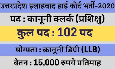 UP इलाहबाद हाई कोर्ट मे निकली भर्ती जल्दी करें आवेदन – UP Allahabad High Court Bharti 2020 Apply Now