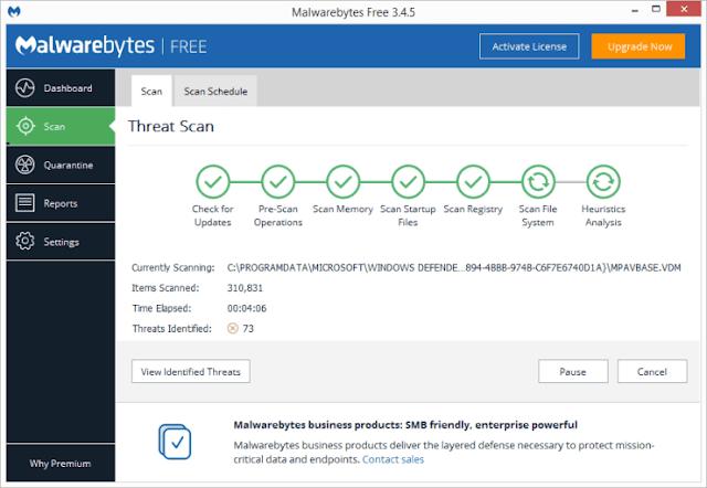 Malwarebytes Check for viruses and spyware
