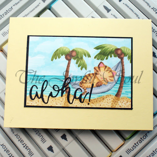 Aloha by Charlotte features Aloha Newton by Newton's Nook Designs; #inkypaws, #newtonsnook, #catcards, #cardmaking, #summercards