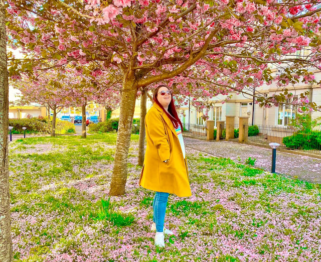 Plus size blogger standing in between blossom trees